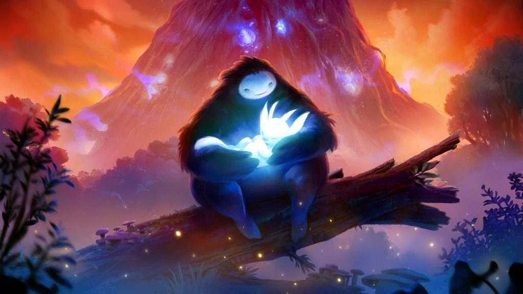 video game graphic of bear holding cub with mountain in the background