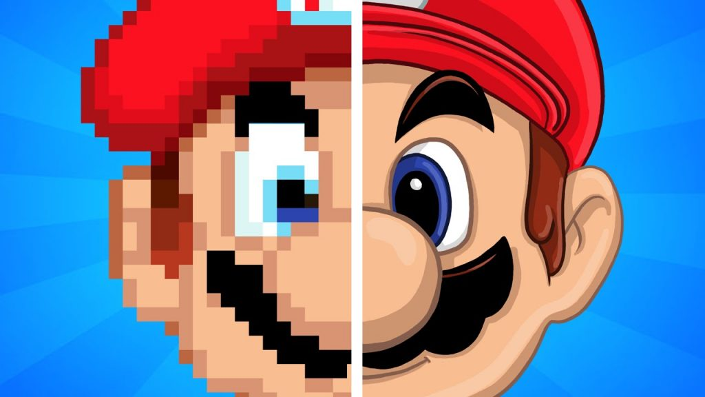 old school super mario vs new super mario graphic